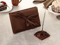 Brown Satin Wedding Guest Book And Pen Set